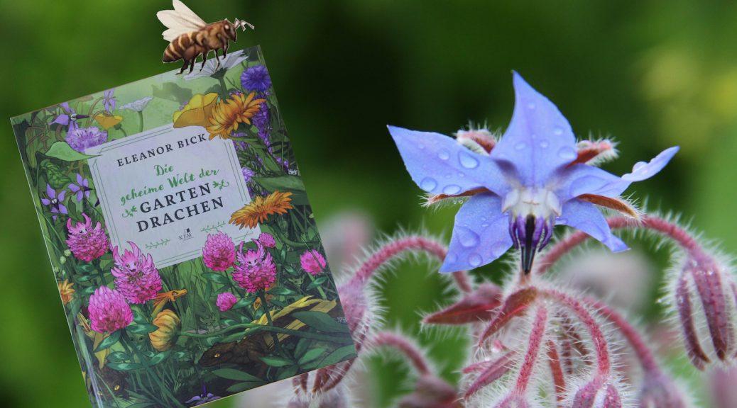 """Das Buch """"Die geheime Welt der Gartendrachen"""" getragen von einer Biene"""