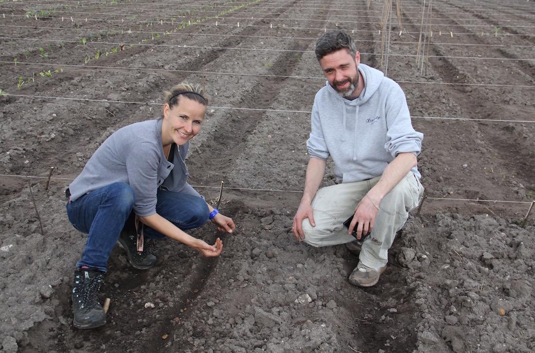 Ulla und Philipp bei der Arbeit auf dem Acker