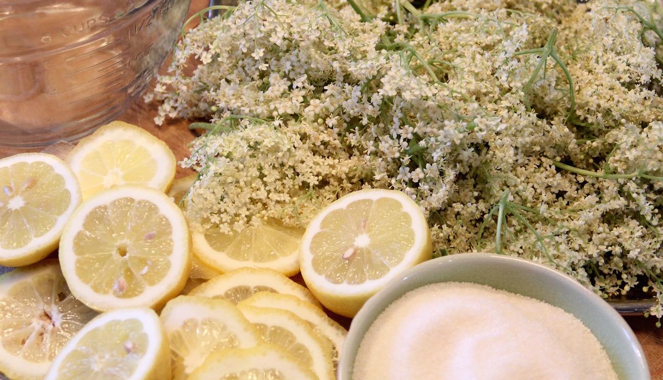 Zitronen, Zucker, Holunderblüten und ein Krug