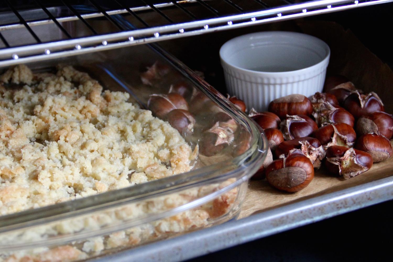 Streusel und Maronen im Ofen