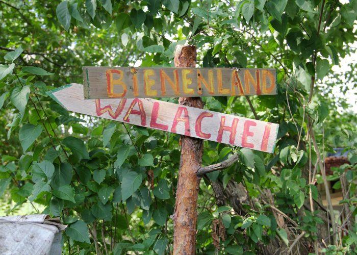"""zwei Schilder """"Bienenland"""" und """"Walachei"""""""