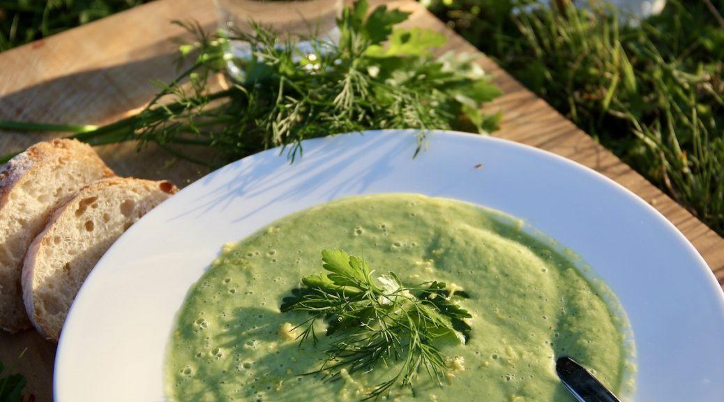 Gurken-Zucchini-Suppe auf einem Teller